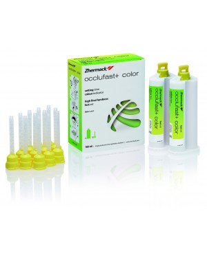 Occlufast+ Colour Thermochromic A-Silicone for bite registration - 2x50ml cartridges (base + catalyst) + 12 yellow mixing tips