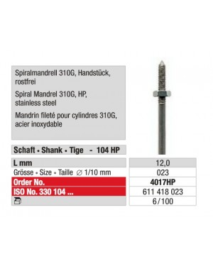 Fine Tread Corkscrew Mandrel