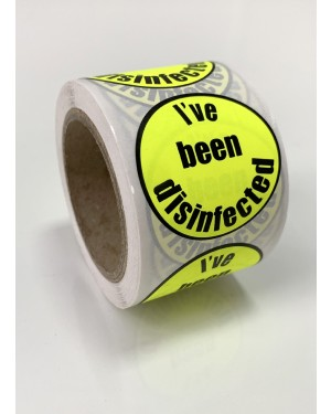 I've Been Disinfected - Neon Yellow Stickers / Labels - Roll of 250